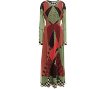 Woman Printed Silk-georgette Maxi Dress Army Green