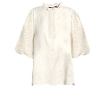 Ruffle-trimmed broderie anglaise cotton top