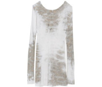 Tie-dye ribbed stretch-jersey top