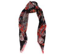 Woman Fringe-trimmed Printed Cashmere And Silk-blend Scarf Black