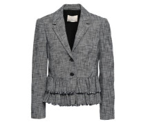 Frayed Tiered Cotton-blend Tweed Blazer Black