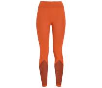 Mesh-paneled Stretch-jersey Leggings Orange