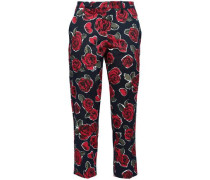 Croped Floral-print Stretch-cotton Twill Straight-leg Pants Black