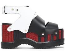 Woven leather platform sandals