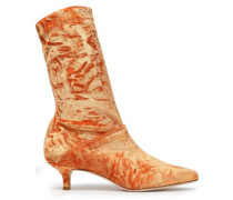 Harper crushed-velvet sock boots