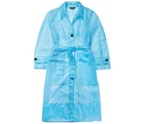 Belted Plastic Raincoat Light Blue