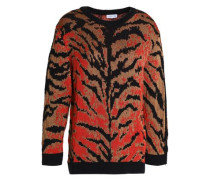 Zebra-print knitted sweater