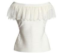 Off-the-shoulder lace-trimmed bandage top