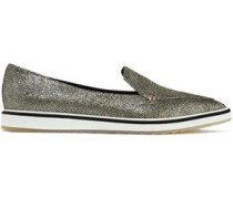 Metallic woven slip-on sneakers