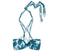 Macramé-trimmed bandeau bikini top