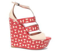 Laser-cut Leather Wedge Sandals Red