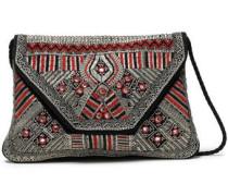 Embellished Canvas And Suede Shoulder Bag Black Size --