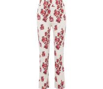 Jaffa Floral-print Stretch-jersey Straight-leg Pants Ecru
