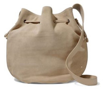 Leather-trimmed suede bucket bag