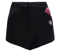 Appliquéd silk-satin pajama shorts
