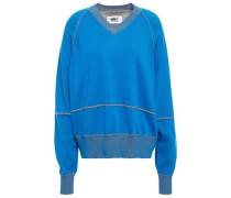 Woman Oversized Jacquard-knit Cotton Sweater Blue