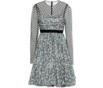 Flocked tulle-paneled silk-crepe mini dress