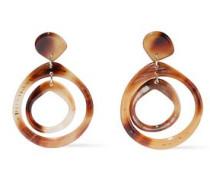 22-karat Gold-plated Printed Resin Earrings Brown Size --