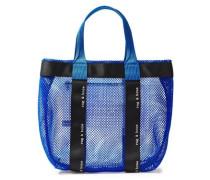 Woman Logo-print Neon-trimmed Mesh Tote Royal Blue