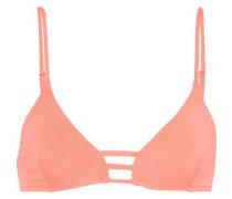 Perth Lattice-trimmed Triangle Bikini Top Peach Size 14