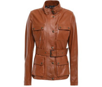 Belted Leather Jacket Tan