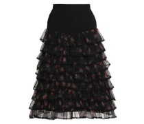 Ruffled floral-print tulle and crepe skirt