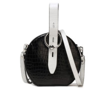Two-tone Croc-effect Leather Shoulder Bag Black Size --