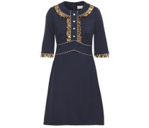 Ruffle-trimmed Button-embellished Printed Woven Mini Dress Navy