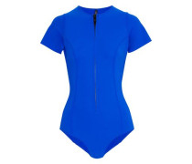 Farrah Zip-detailed Bonded Swimsuit Royal Blue Size 1