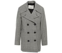 Woman Double-breasted Prince Of Wales Checked Wool Coat Black