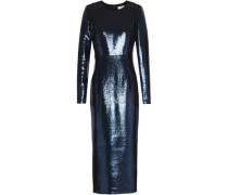 Sequined Stretch-knit Midi Dress Navy