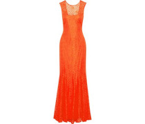 Fluted cutout lace gown