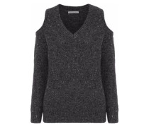 Page Cold-shoulder Marled Merino Wool-blend Sweater Charcoal