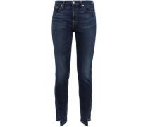 Asymmetric High-rise Skinny Jeans Dark Denim  5