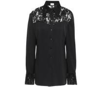 Dalian Lace-paneled Silk-satin Shirt Black