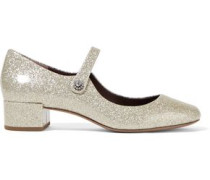 Lexi glittered patent-leather Mary Jane pumps