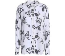 Printed silk-crepe top