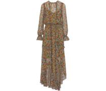 Split-front ruffled floral-print chiffon maxi dress