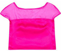 Cropped Organza-paneled Silk-satin Top Bright Pink Size 12