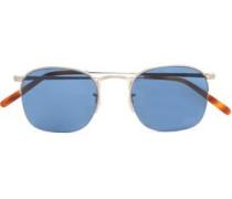 Square-frame gunmetal-tone sunglasses