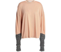 Metallic-paneled Merino Wool, Silk And Cashmere-blend Sweater Peach