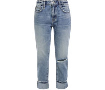 Woman Distressed Cropped Mid-rise Straight-leg Jeans Mid Denim