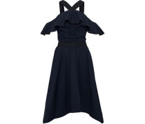 Cold-shoulder Ruffled Cotton-poplin Dress Midnight Blue Size 0