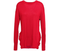 Ruffle-trimmed Knitted Sweater Red