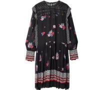 Embroidered printed tulle dress