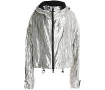Crinkled metallic-crepe windbreaker jacket