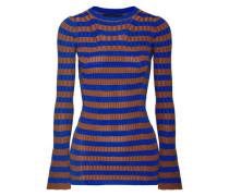 Metallic Striped Ribbed-knit Top Royal Blue