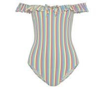 The Amelia Off-the-shoulder Striped Seersucker Swimsuit Multicolor