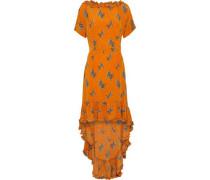 Alvild Ruffled-trimmed Printed Satin-crepe Dress Orange