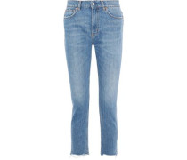Argan Cropped Distressed High-rise Slim-leg Jeans Light Denim  4